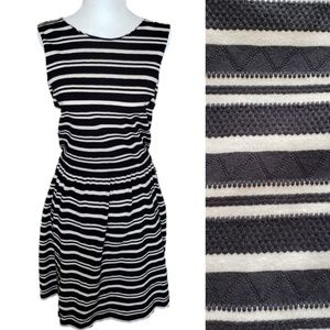 J Crew | Navy Striped Pleated Summer Ponte Dress